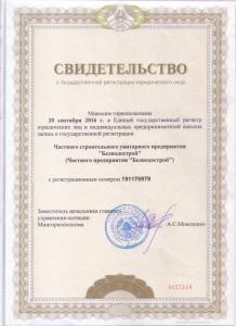 Свидетельство о регистрации организации №191176979